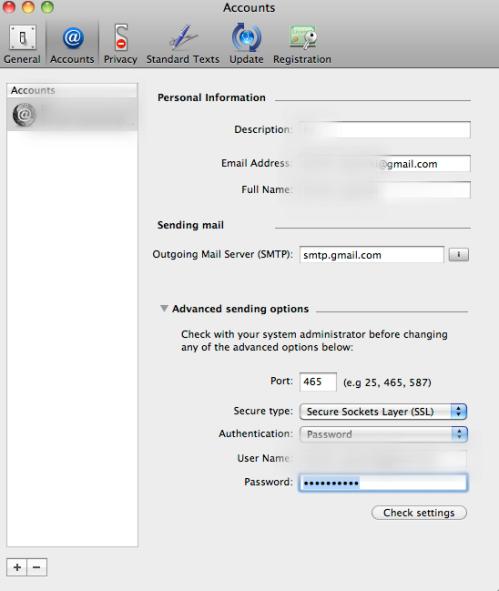 poprawnie skonfigurowane konto gmail
